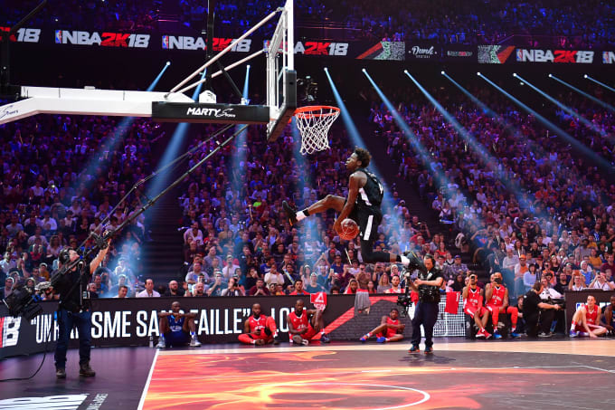 quality design 6e833 2afd4 Sylvain Francisco competing in the NBA2K18 Dunk Contest during the All Star  Game.