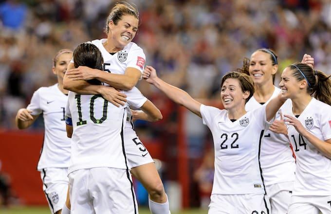 US Women's Soccer Team celebrating.