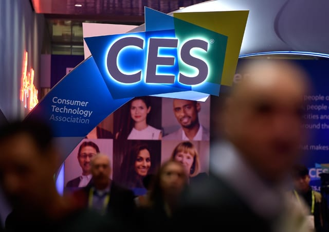 The CES logo is seen during CES 2018 at the Las Vegas Convention Center