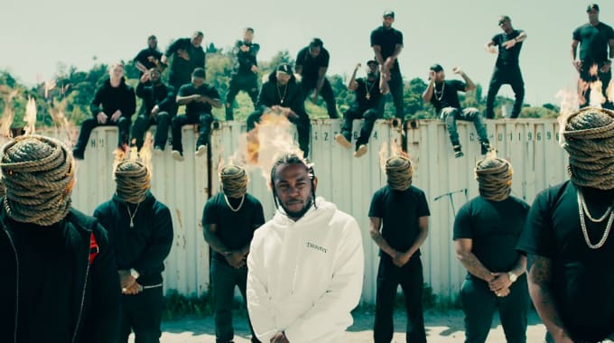 "Kendrick Lamar wearing Second/Layer Lil Dreamer hoodie in ""Humble"" music video."