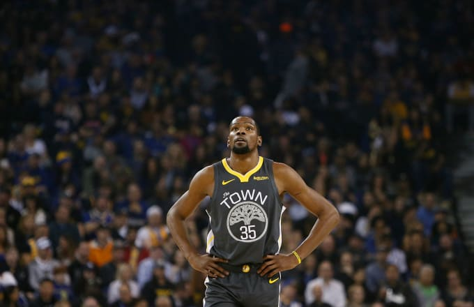 Kevin Durant looks on during the game against the Los Angeles Lakers
