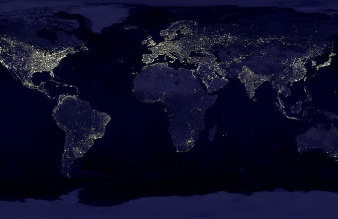 Facebook has completed a map that shows where everyone on earth a picture of earth lights gumiabroncs Choice Image
