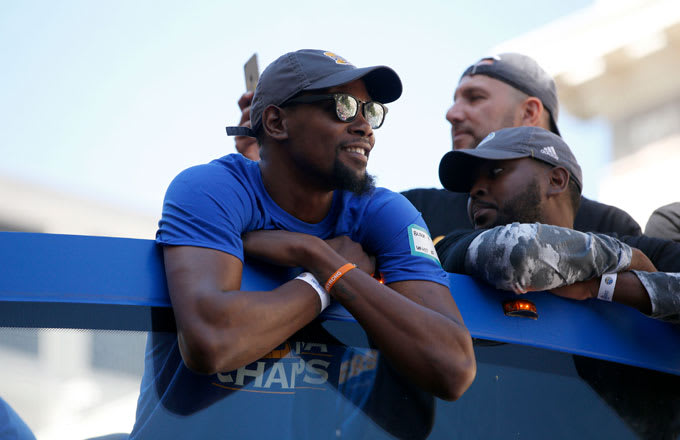 Kevin Durant during the Warriors championship parade.