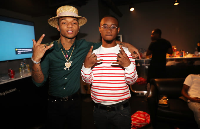 Swae Lee and Slim Jxmmi aka music duo Rae Sremmurd backstage at PlayStation Theater