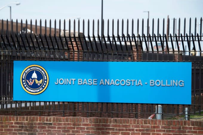 The front gate of Joint Base Anacostia-Bolling