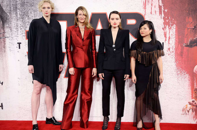 Gwendoline Christie, Laura Dern, Daisy Ridley and Kelly Marie Tran at a 'Star Wars' premiere.