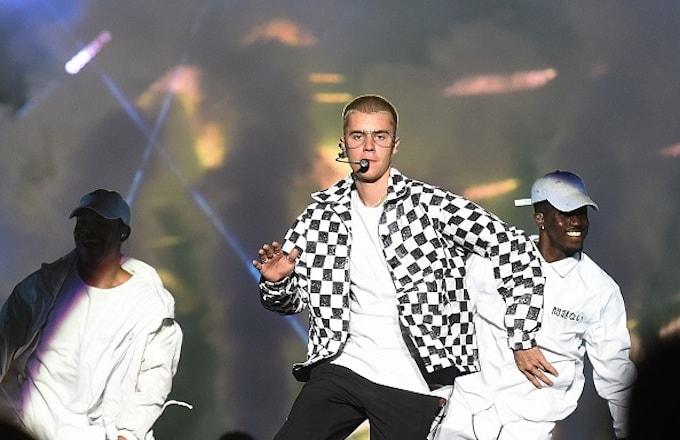 Justin Bieber's performs on stage at Apoteose Sapucai Rio de Janeiro, Brazil