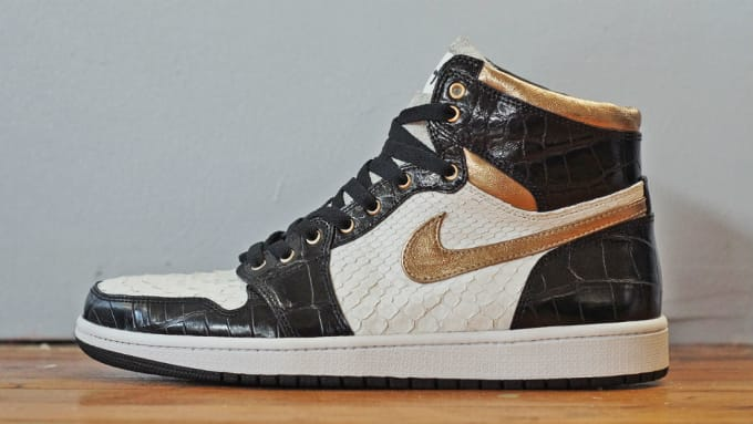 c8a443282f2579 Air Jordan 1 White Python Black Croc Gold Leather by JBF Customs Side