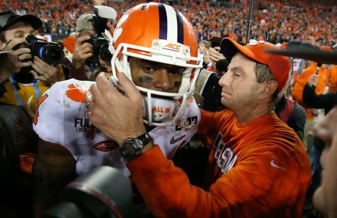 DeShaun Watson celebrates Clemson's CFP National Championship Game win.