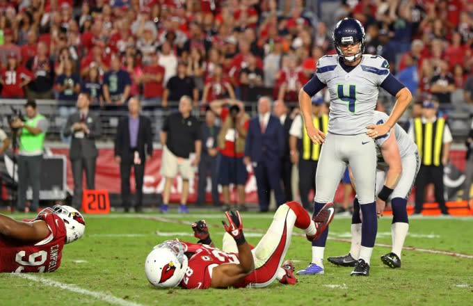 Seahawks kicker Stephen Hauschka reacts to missing a kick.