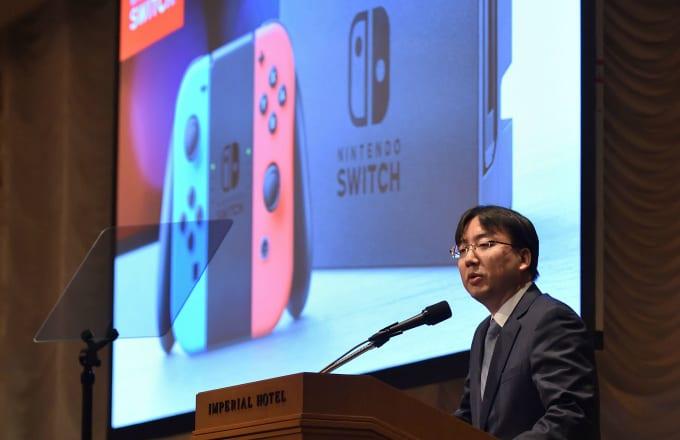 Nintendo President Shuntaro Furukawa delivers a speech
