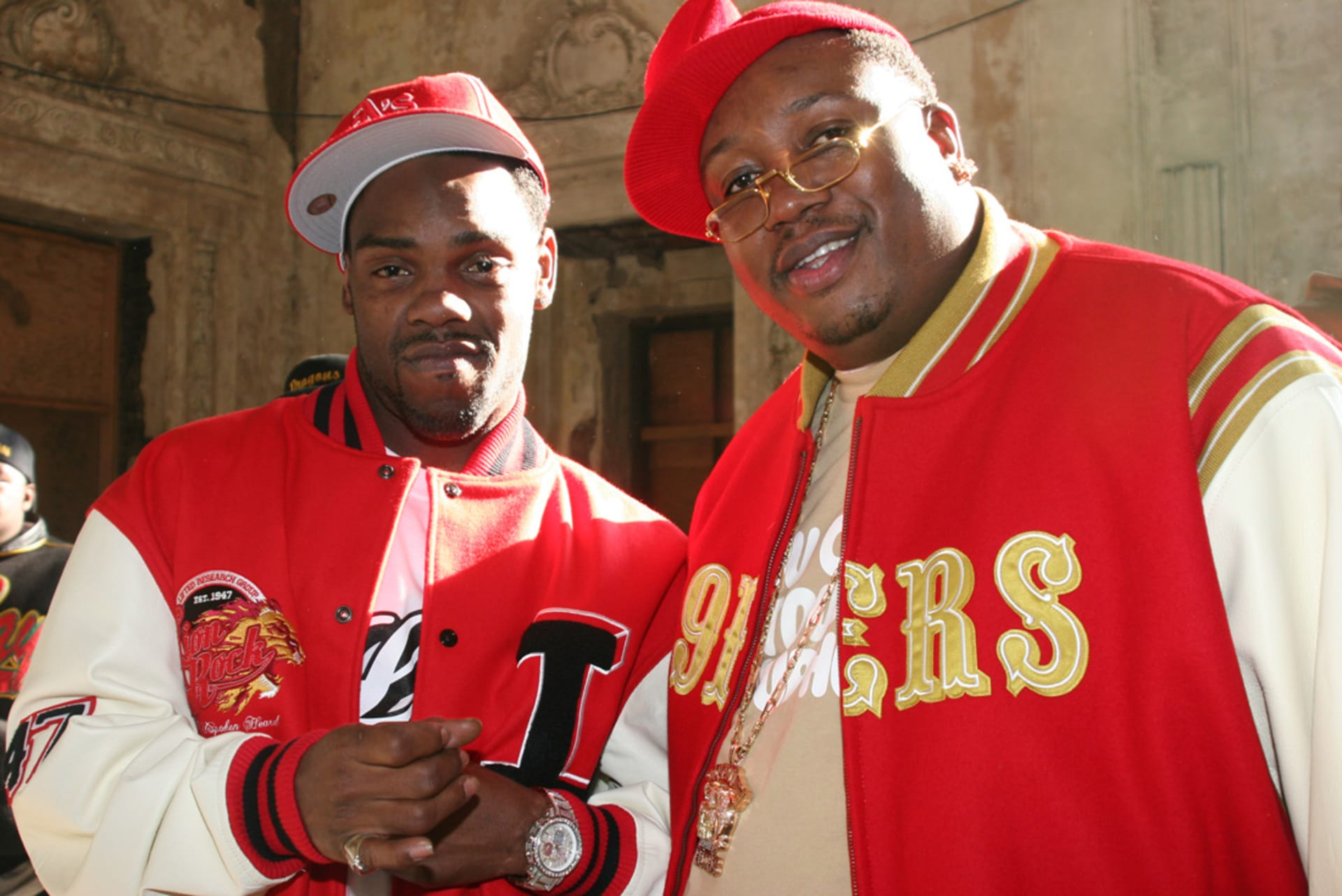 """Keak Da Sneak and E 40 on the set of the 2006 music video shoot for """"Tell Me When To Go"""" in Oakland, Calif."""