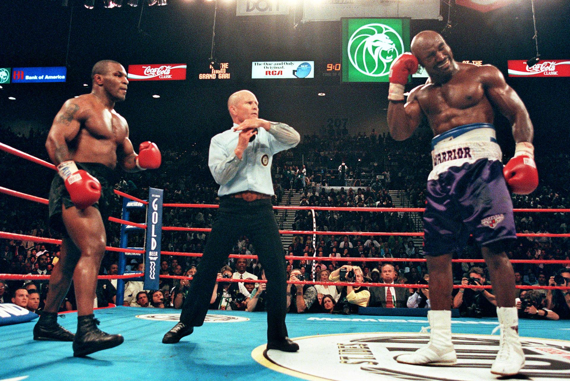Tyson Holyfield II Mills Lane Timeout 1997 Getty