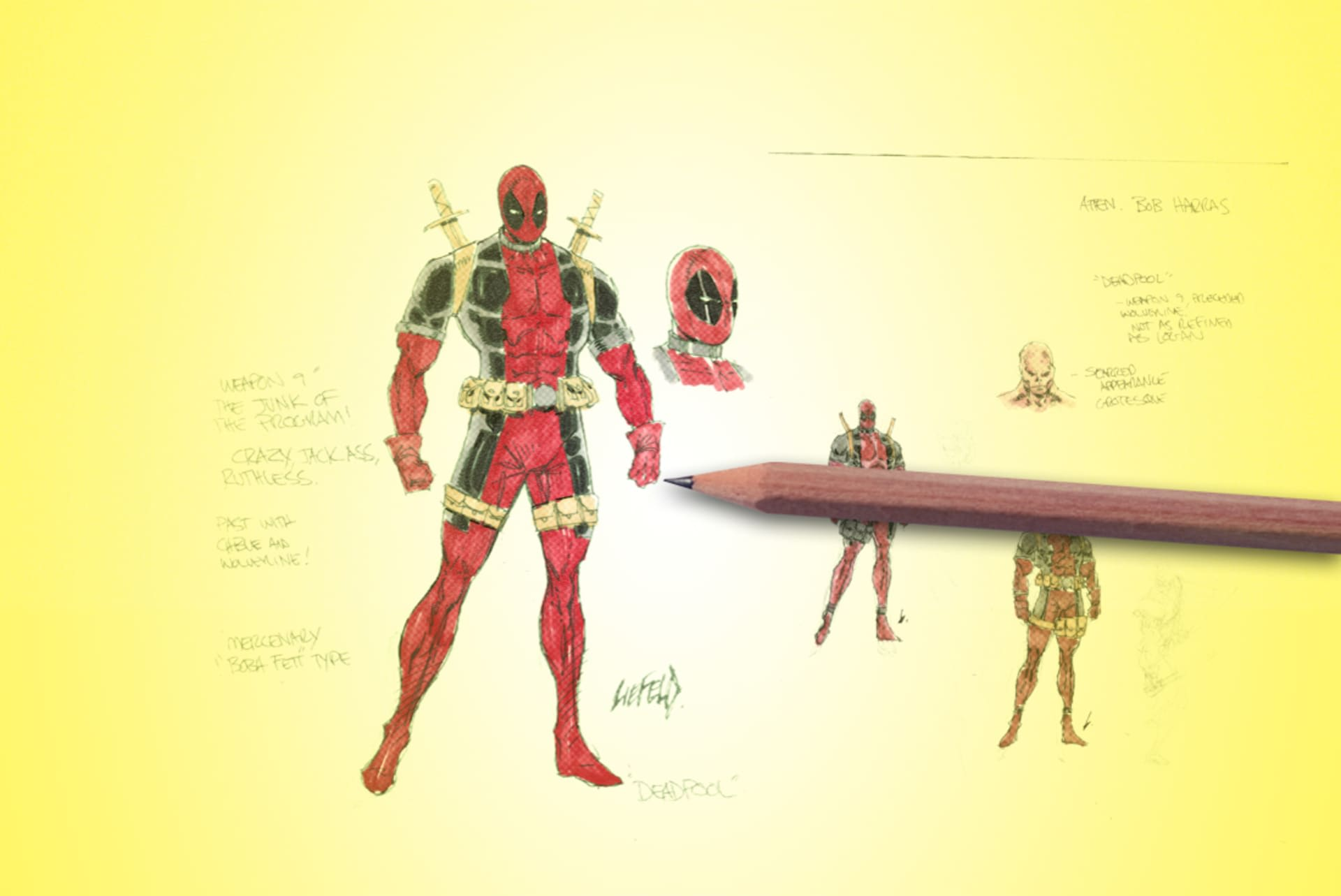Rob Liefeld's early drawings of Deadpool
