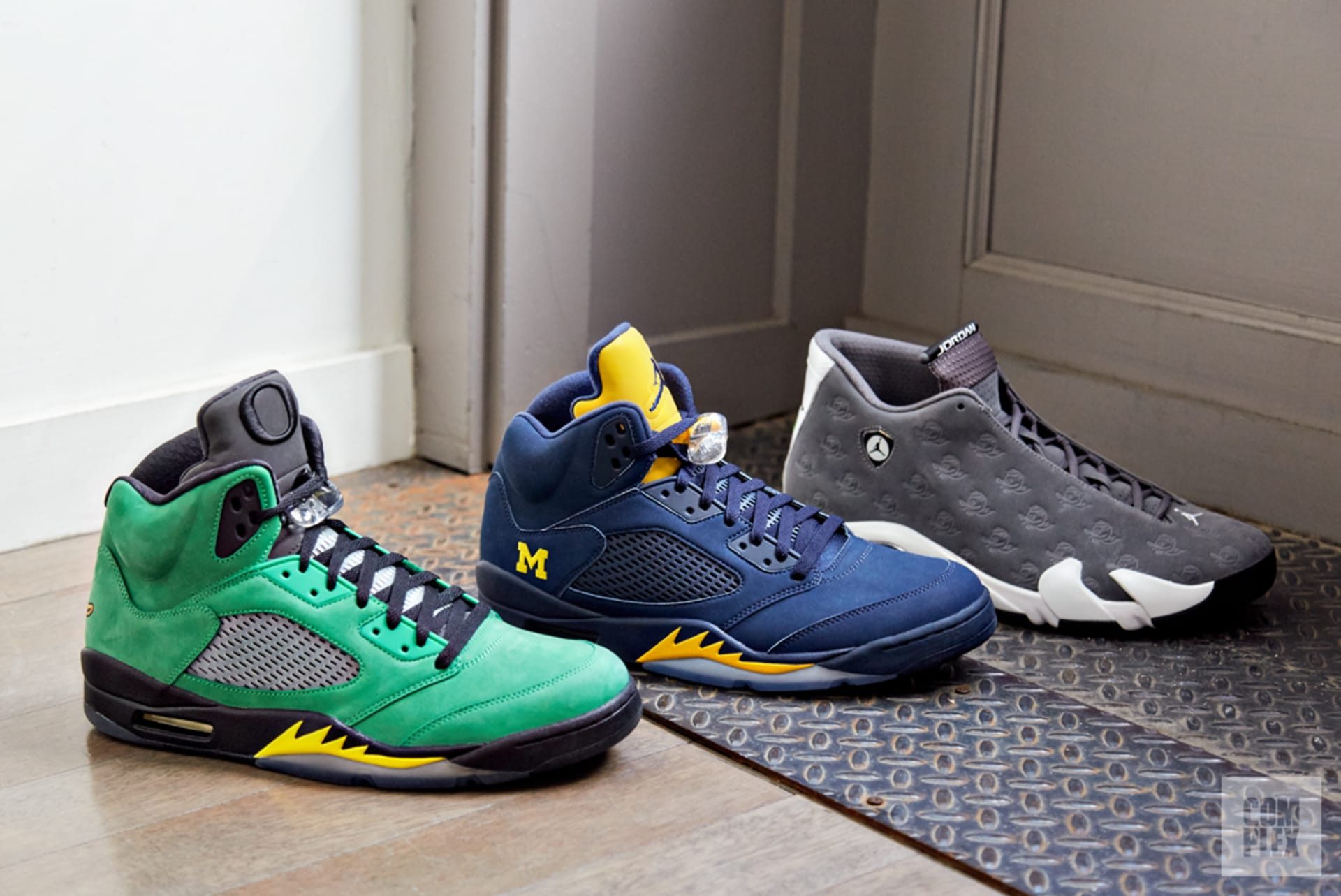 9f5c096cace81 Air Jordan PEs made for the University of Oregon and Michigan. Sneakers  courtesy of Stadium Goods. Image via Complex Original/David Cabrera