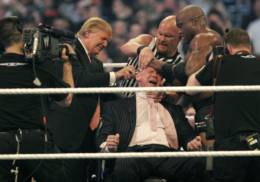 Just pictures of vince mcmahon shaved head sniff