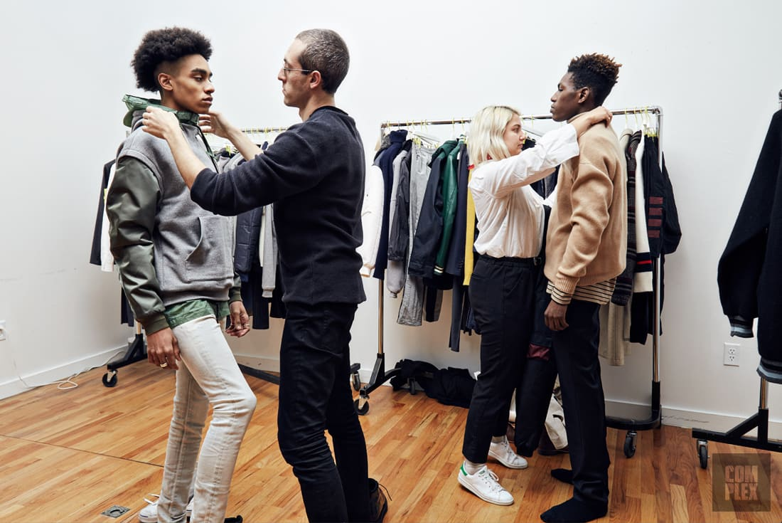 Models at the New York showroom for a fitting ahead of John Elliott's Fall/Winter 2017 runway show.