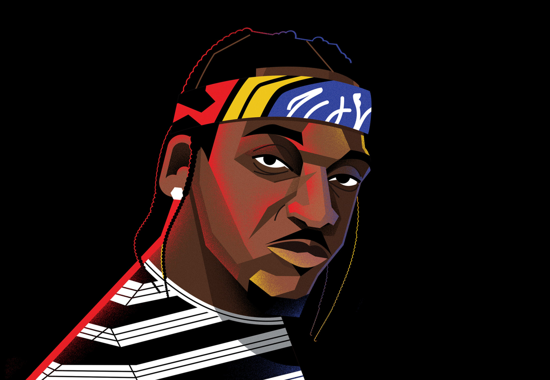 Illustration of Pusha-T by Dale Edwin Murray