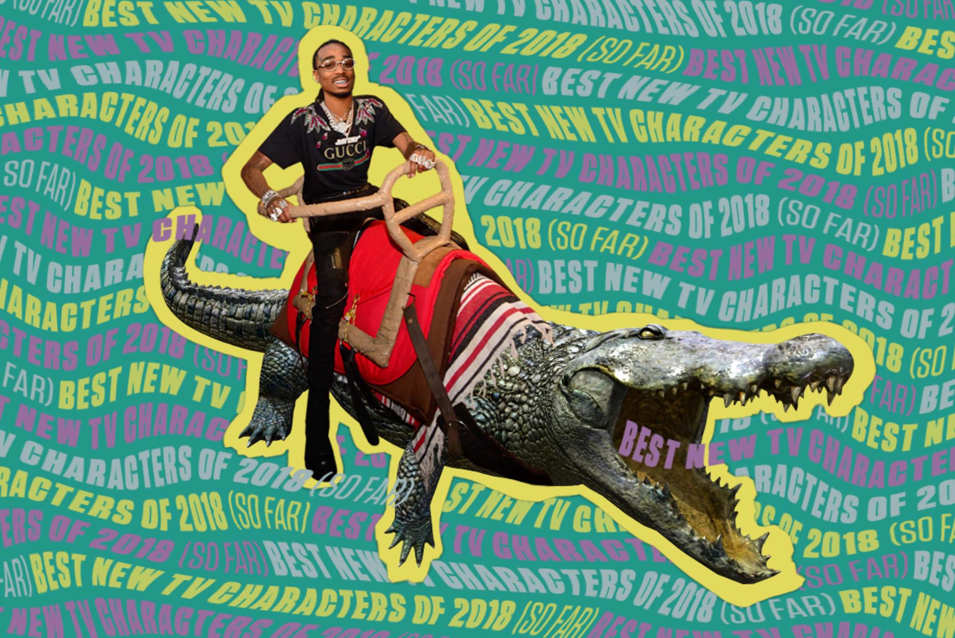 Quavo riding an alligator