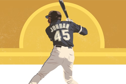 Michael Jordan No. 45 Birmingham Barons Illustration