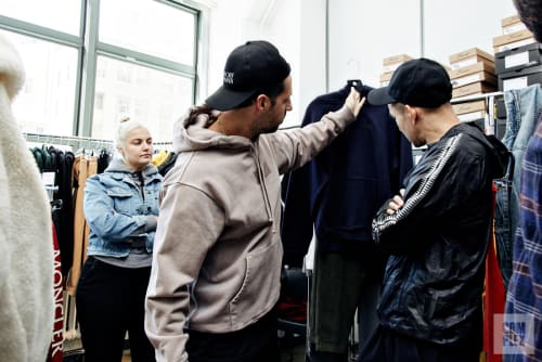 Fieg (left) and stylist Eugene Tong (right) a few days before the runway show.