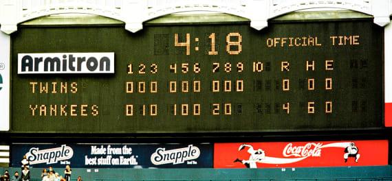 Yankee Stadium Scoreboard David Wells Perfect Game 1998