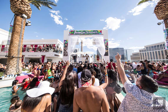 Rae Sremmurd performs at Drai's Beachclub in Las Vegas for SremmLife Sundays With Uncle Jxm.