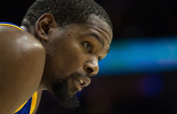 Kevin Durant on the court during game.