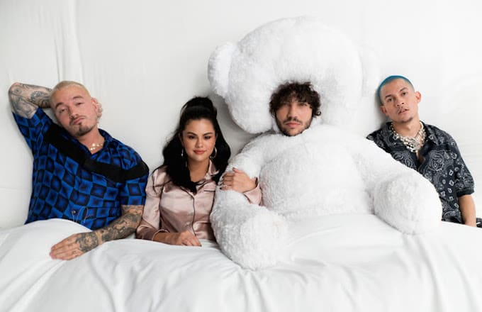 """Watch Selena Gomez, J Balvin, Benny Blanco, and Tainy Have a Slumber Party in """"I Can't Get Enough"""" Video"""