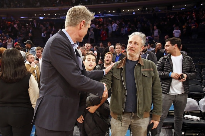 Jon Stewart's Reaction to JaVale McGee Hitting a Fadeaway Jumper Becomes an Instant Meme