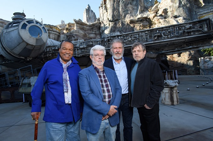 Disney's 'Star Wars' Park Opening Features Harrison Ford, Mark Hamill, George Lucas, Billy Dee Williams