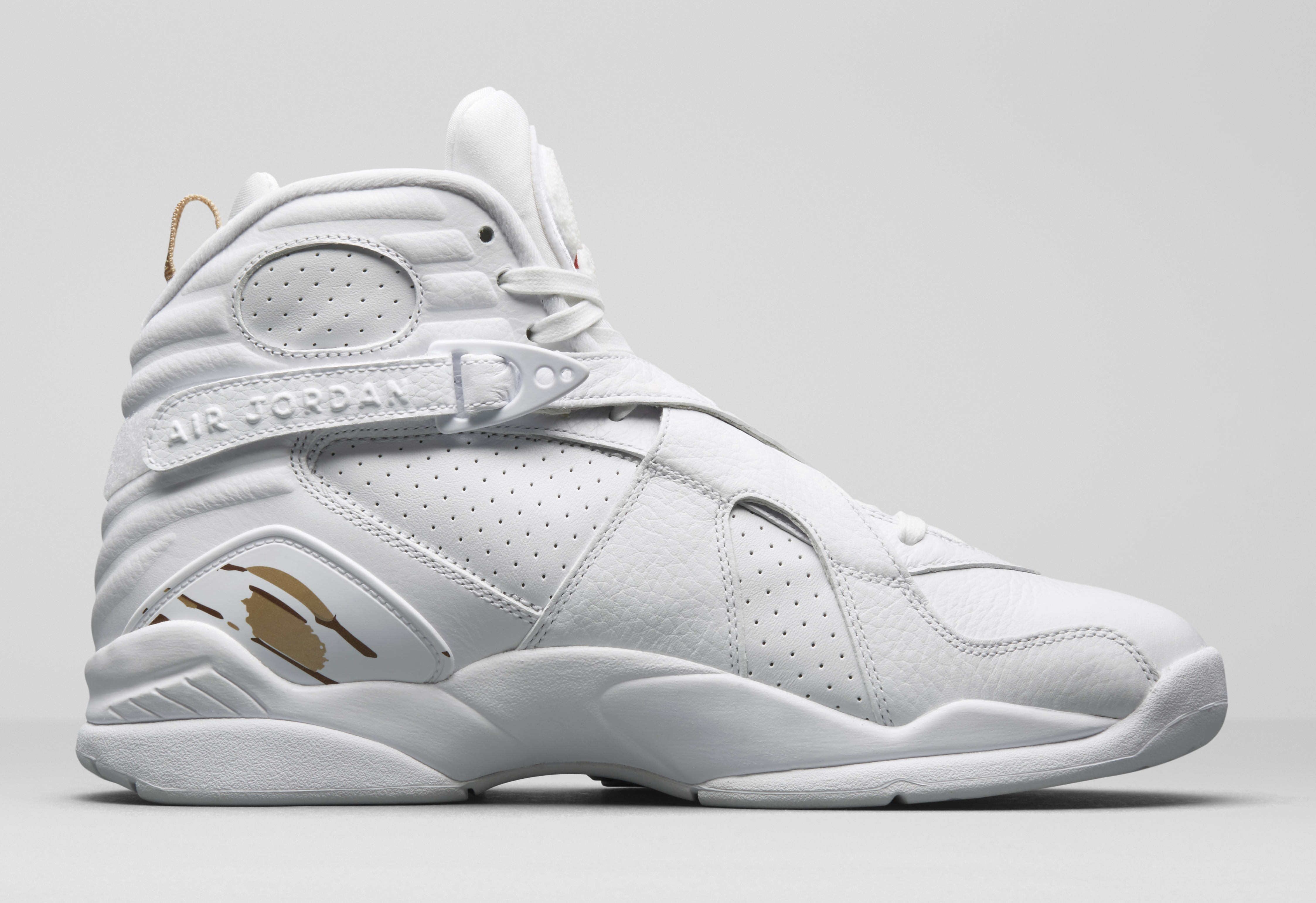 sports shoes e1617 efc53 ... Image via Nike Air Jordan 8 OVO WhiteMetallic Gold-Varsity Red-Blur  AA1239 .