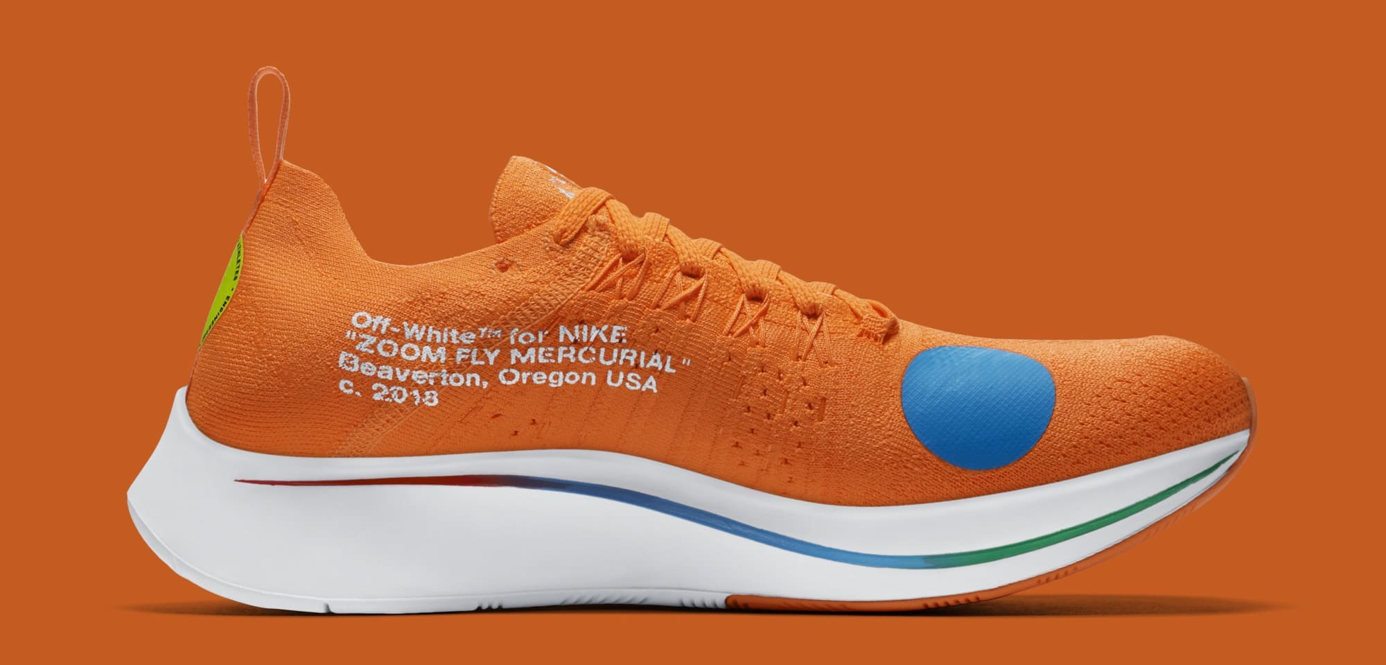 Off-White x Nike Zoom Fly Mercurial Flyknit 'Total Orange' AO2115-800 (Medial)
