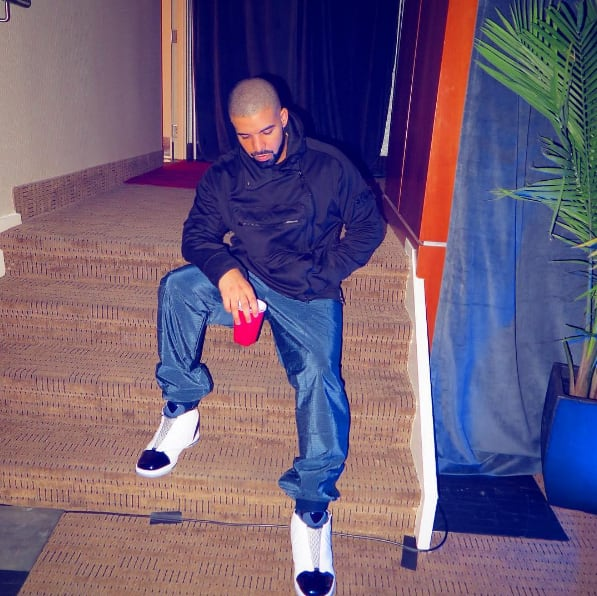 This is Drake's Instagram of him sitting on stairs.