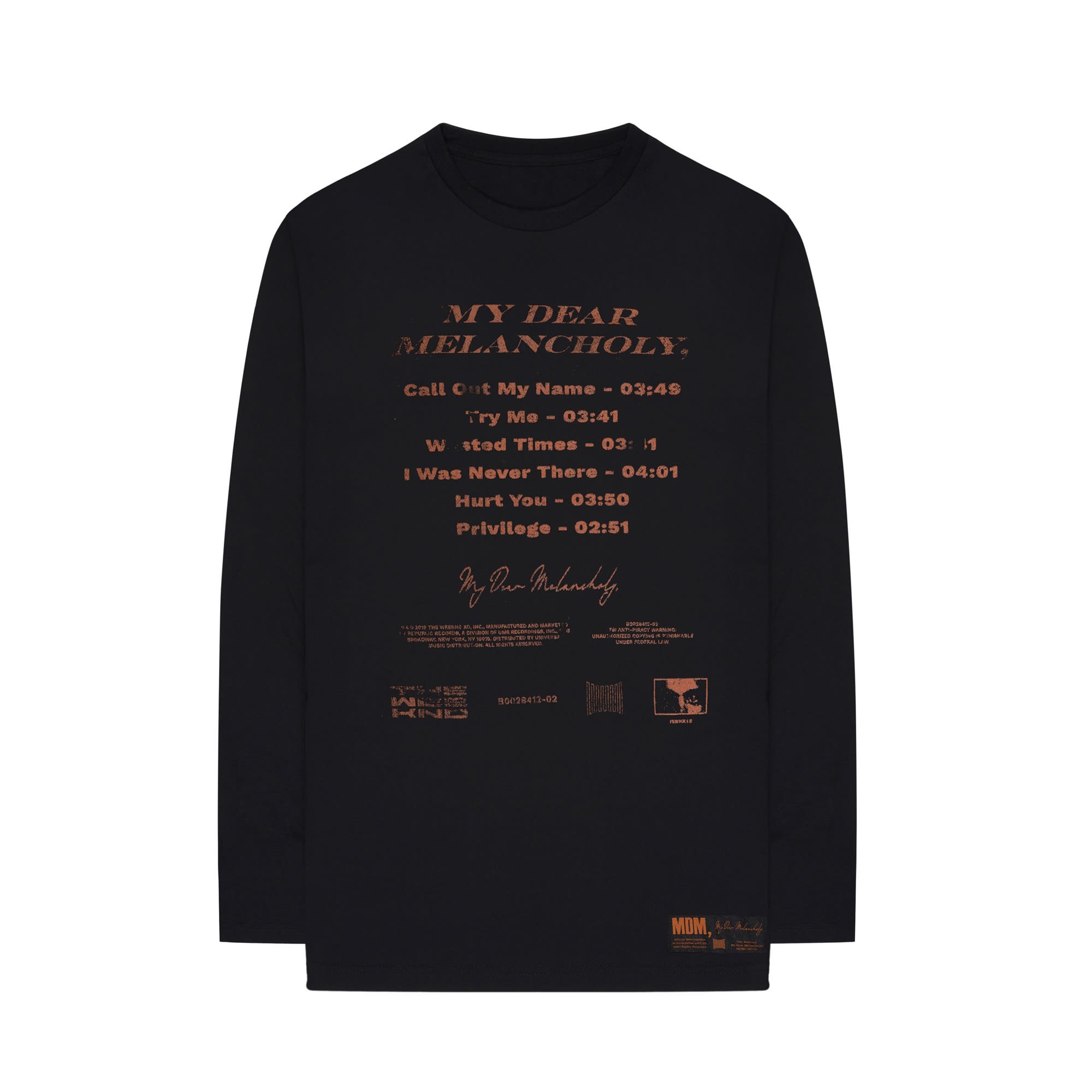 The Weeknd's 'My Dear Melancholy' tracklist long sleeve t-shirt front.