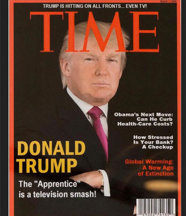 A fake TIME Magazine cover that hung in several Donald Trump golf clubs.