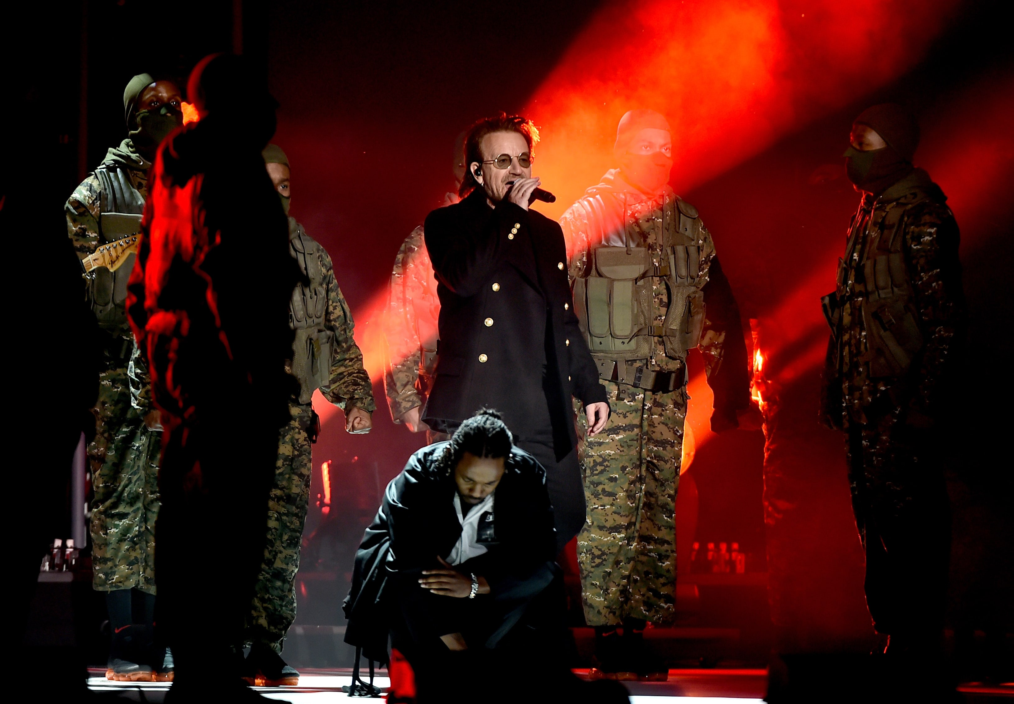 Bono performs alongside Kendrick Lamar during 60th Annual Grammy Awards