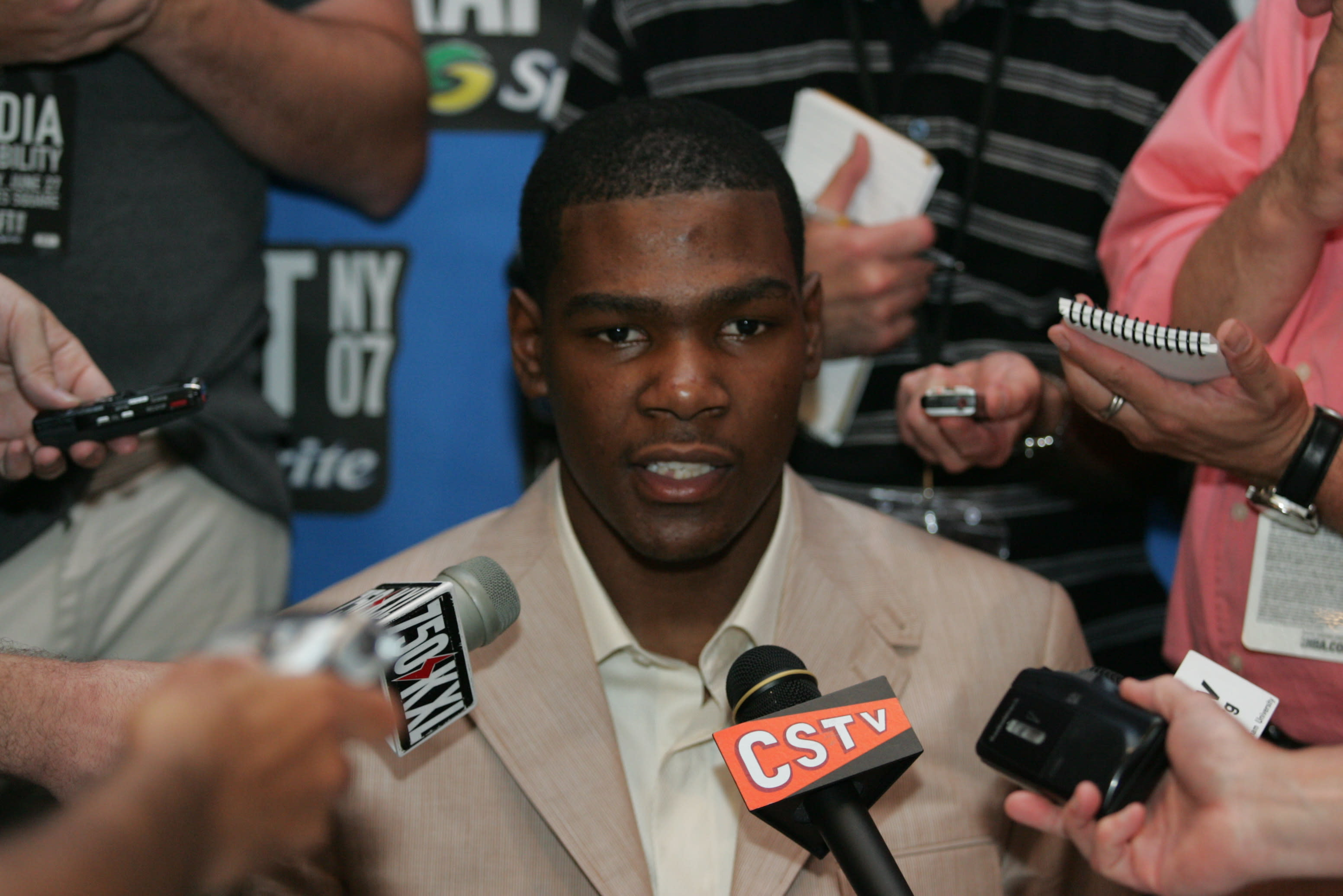 Kevin Durant answers questions before the 2007 NBA Draft.