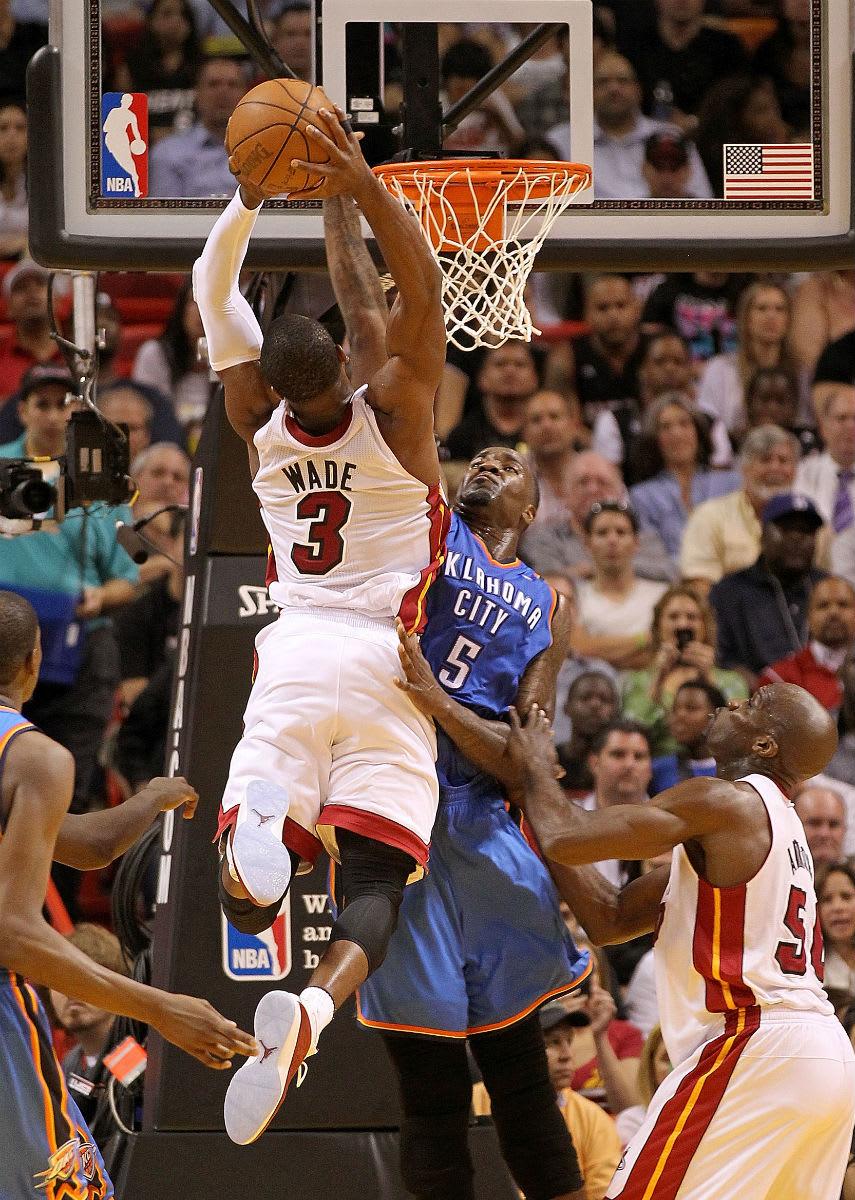 Dwyane Wade Posterizes Kendrick Perkins in the Air Jordan 2011