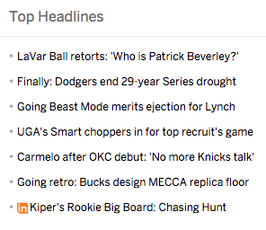 ESPN headlines.
