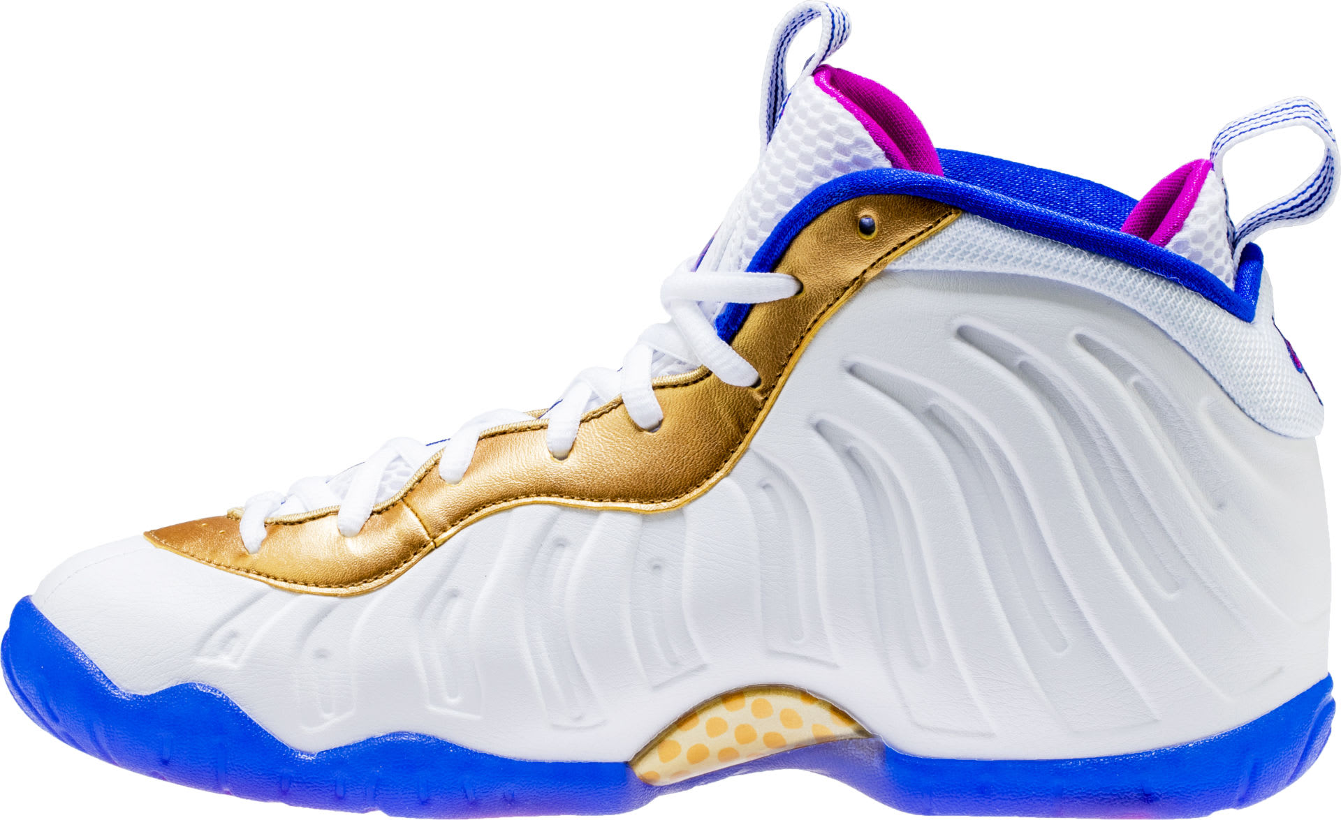 another chance f80be f7f44 ... ireland nike little posite one white fuchsia blast racer blue metallic  gold release date 644791 103
