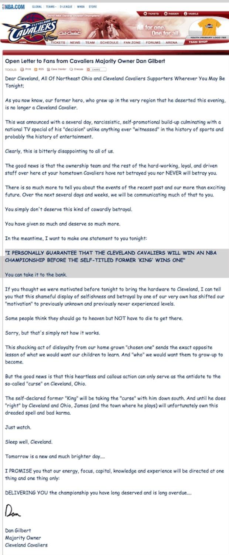 Dan Gilbert letter.