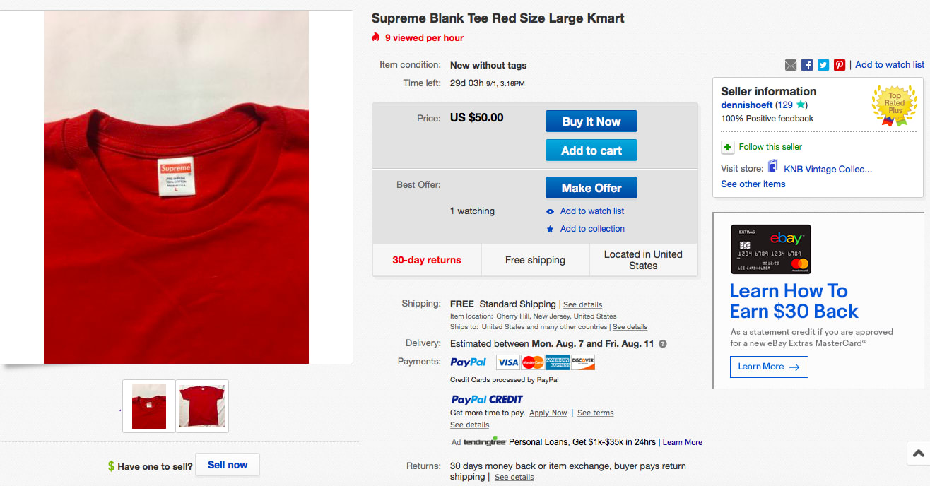 Supreme Blank Tee Red Size Large Kmart