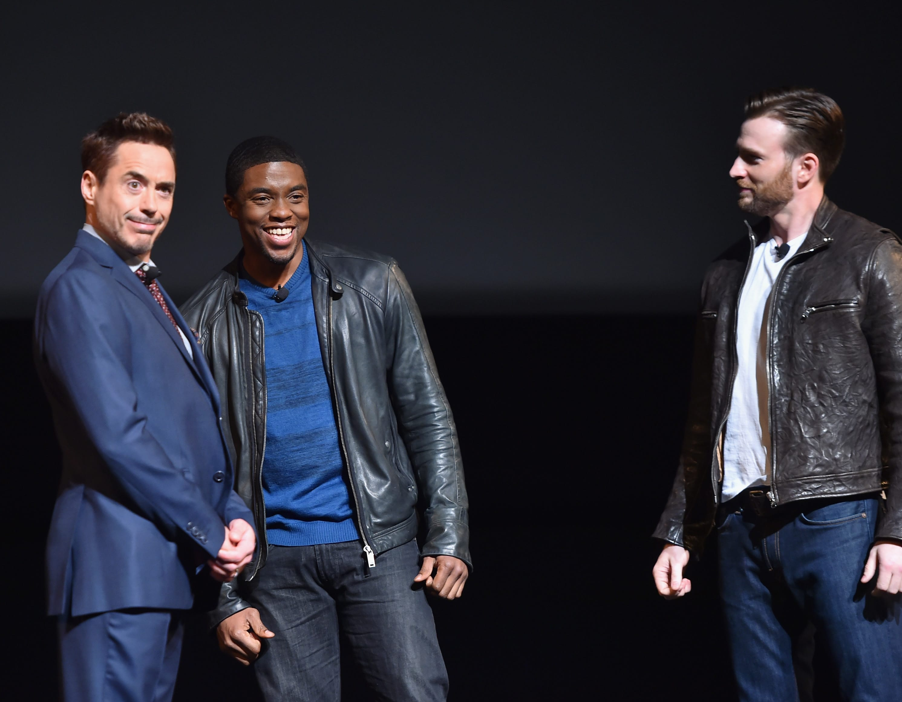 Robert Downey Jr Chadwick Boseman and Chris Evans