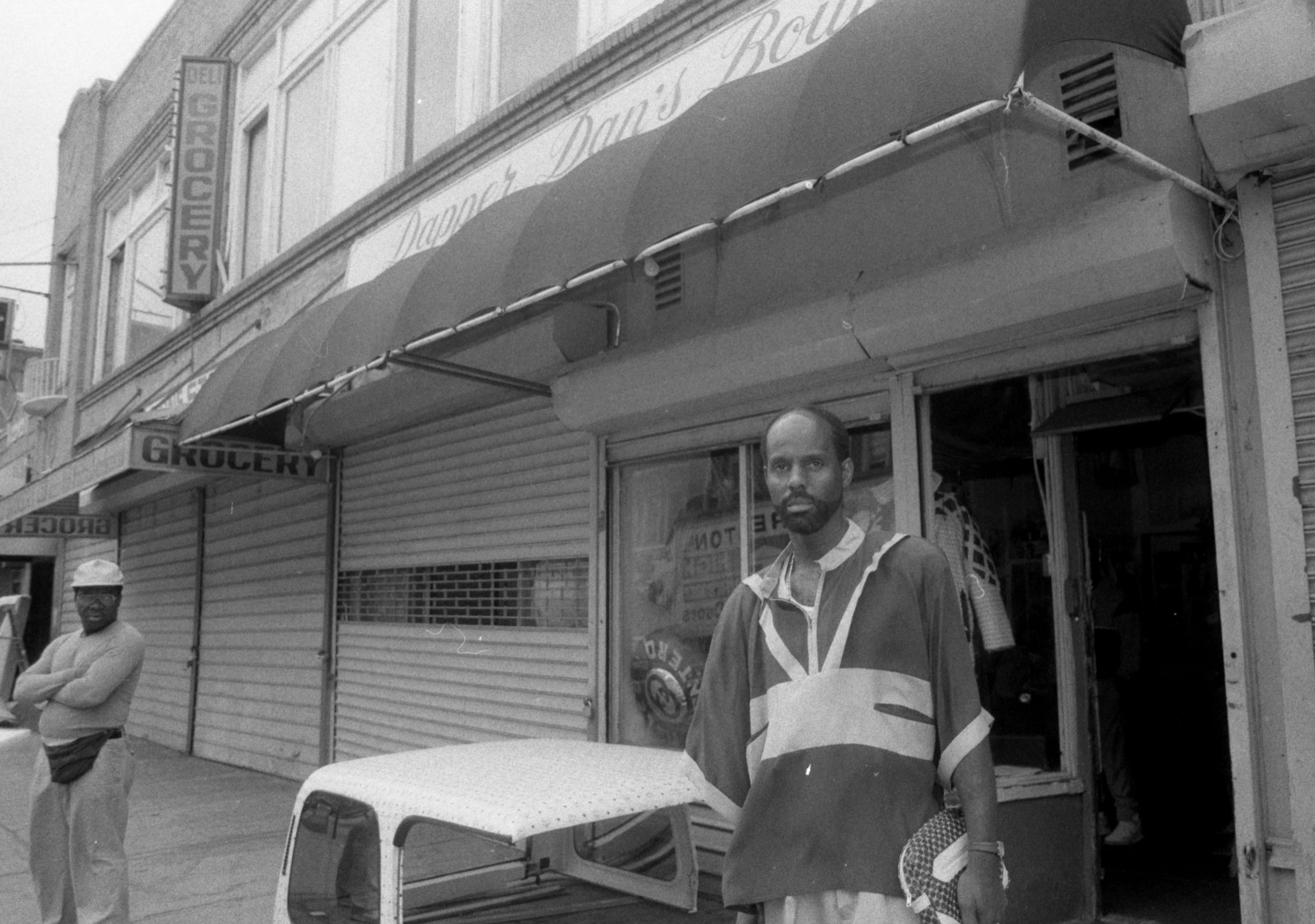 Dapper Dan in front of his store in Harlem.