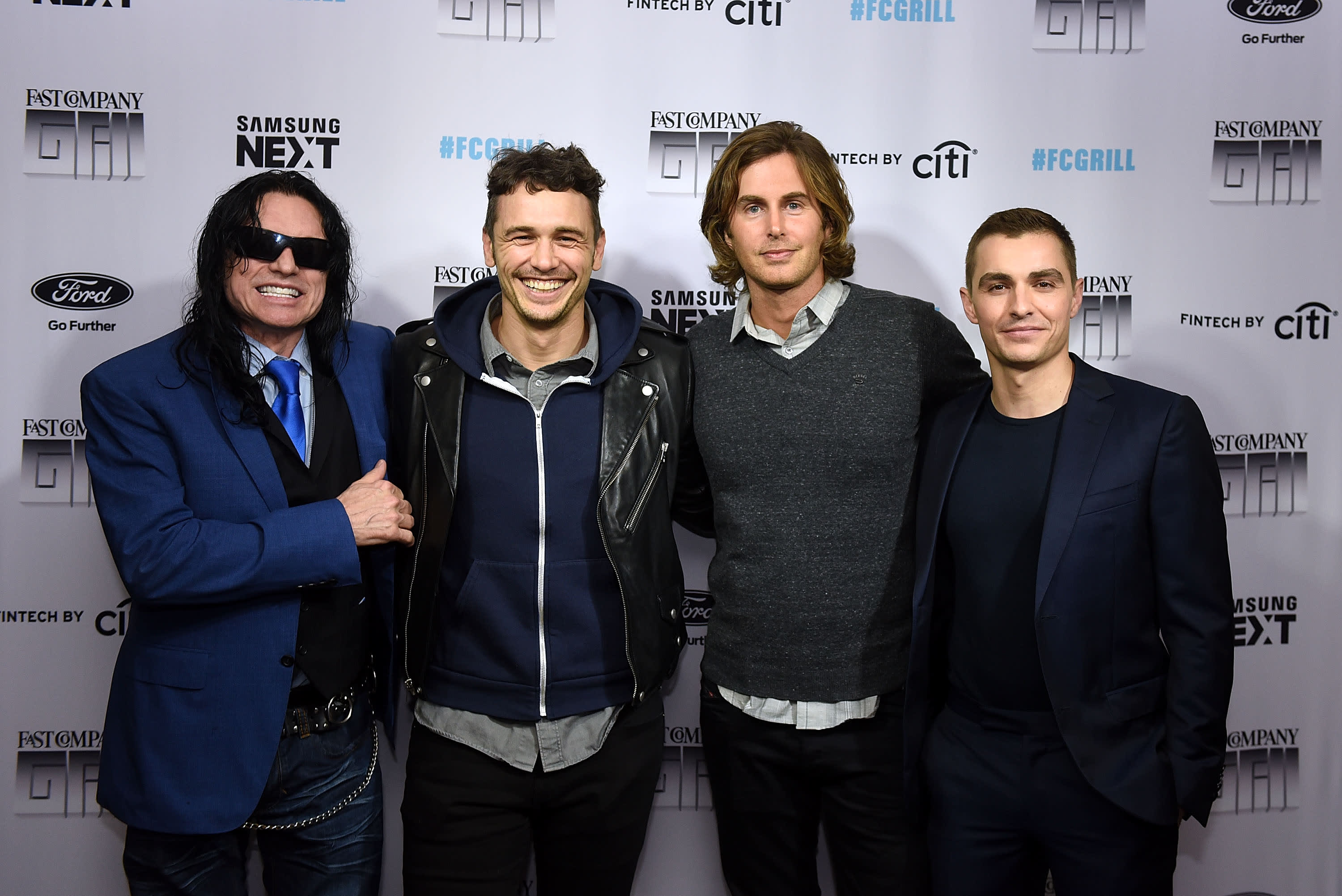 The Disaster Artist's Tommy Wiseau, James Franco Greg Sestero and Dave Franco