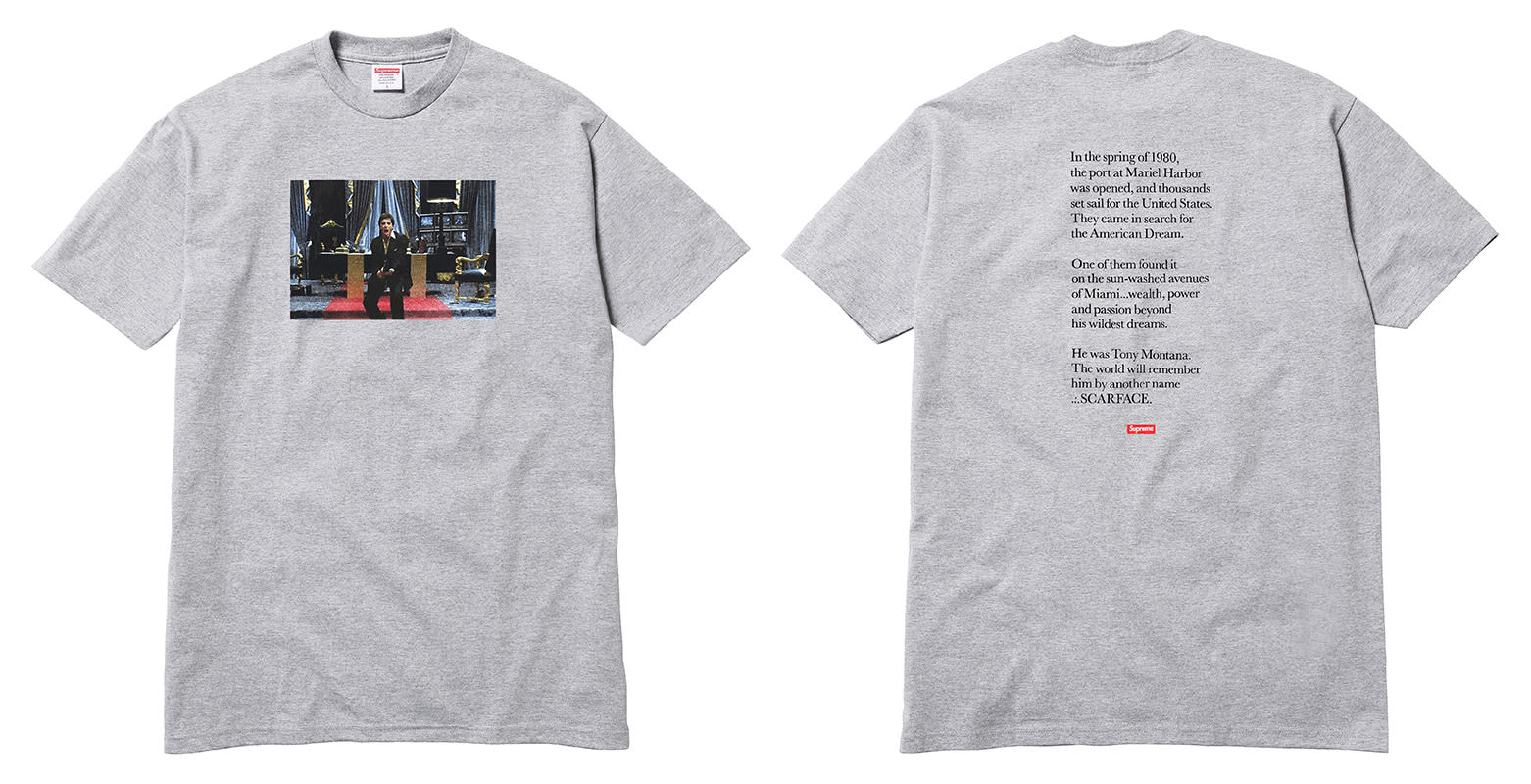 Billion Auto Group >> Supreme's 'Scarface' Collection Brings the Cocaine Classic to Jerseys, Lamps, and Skate Decks ...