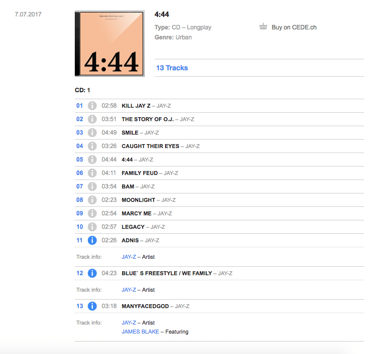 Physical release of Jay Z '4:44'