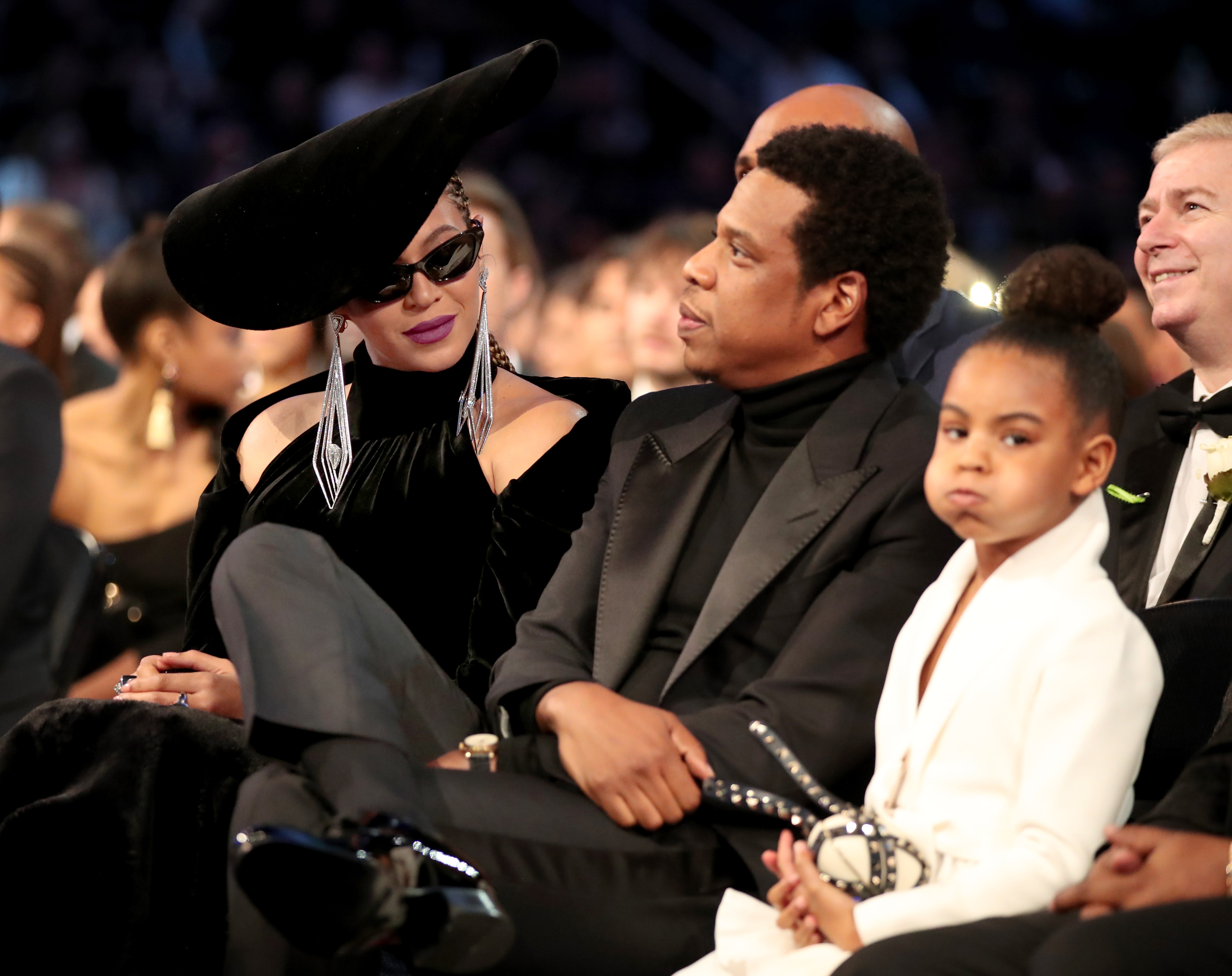 Beyonce, Jay-Z and Blue Ivy Carter attends the 60th Annual GRAMMY Awards