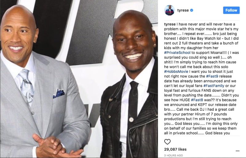 tyrese ranting about the rock